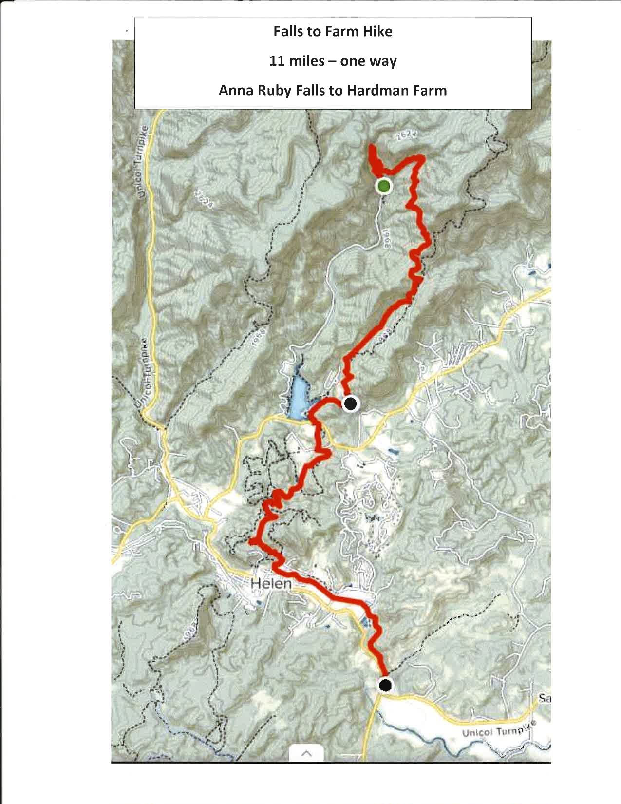 This map outlines a hike from Anna Ruby Falls, to Unicoi State Park, Helen and the Hardman Farm. (Image courtesy Will Wager/Smithgall Woods State Park)