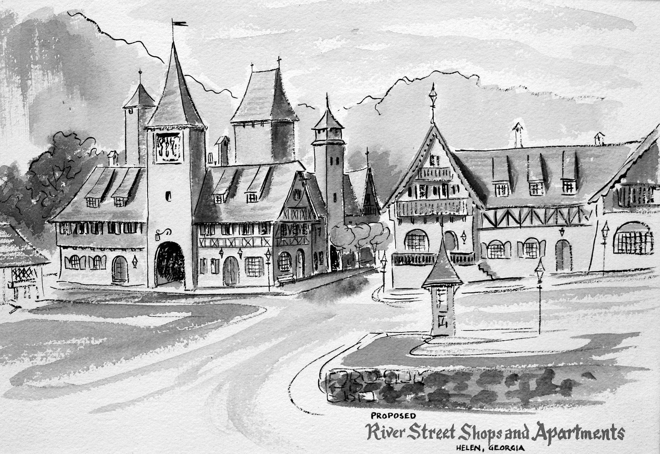 A sketch by the late artist John Kollock showing an idea for River Street shops and apartments.