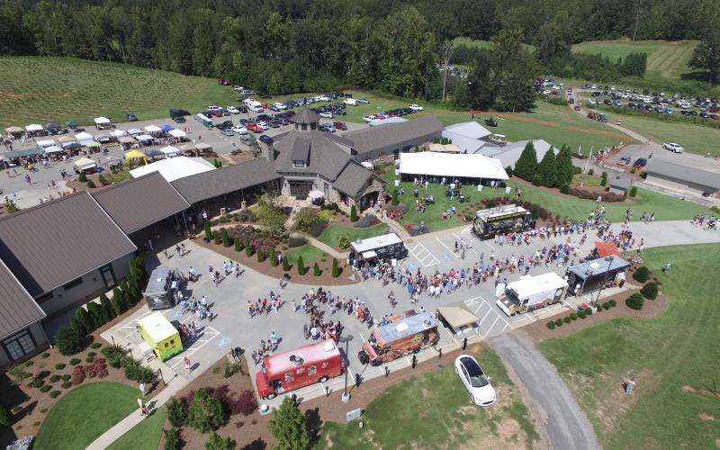 This overhead shot shows all the vendors and activities at Yonah Mountain Vineyard during Crush Fest. (Submitted photos)