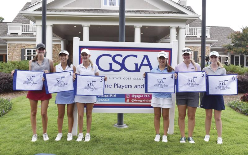 Team Georgia members are, from left, Ainsley Cowart, Sara Im, Ava Merrill, Kimberly Shen, Mikayla Dubnik and White County High School's Catie Craig. (Photo/Georgia State Golf Association)