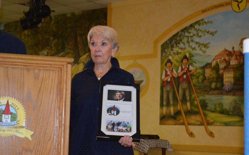 Linda Fowler got teary eyed after being presented the photo display that was put onto the Hall of Fame. (Photo/Stephanie Hill)
