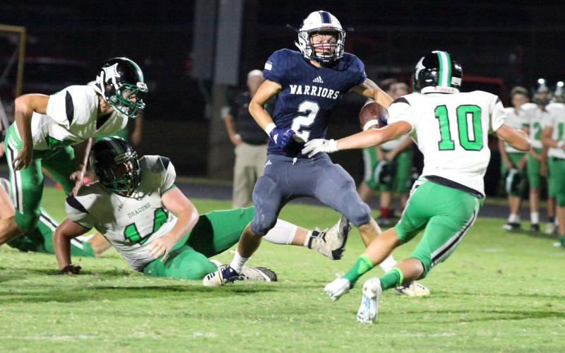 WCHS senior Jesse Thomas, No. 2, had a career-high 126 yards on five receptions, including a 52-yard touchdown catch in the first quarter of the win over Pickens County, (Photos/Staci Sulhoff)