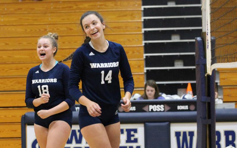 Alyssa Bertie, left, and Eliza Johnson will get a chance to celebrate later today if the Lady Warriors knock off Chestatee to earn a Class AAAA state tournamet berth. (Photo/StaciSulhoff)