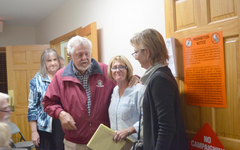 Fred Garmon and Cinnamon Spurlock spoke after the voters were counted. (Photo/Stephanie Hill)