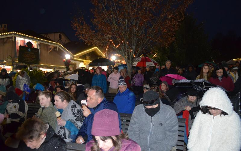 A crowd gathered to watching the Lighting of the Village in 2018. (File photo)