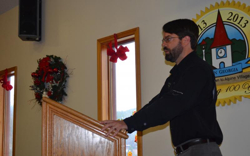 Will Wagner, site manager for Smithgall Woods State Park and the Hardman Farm State Historic Site, speaks to the Helen City Commission Dec. 10. (Photo/Stephanie Hill)