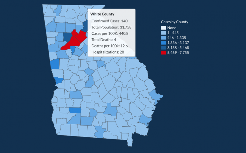 There have been 140 total confirmed COVID-19 cases in White County since the start of the pandemic, according to the update on Monday, June 29, on the Georgia Department of Public Health's website. (Image from DPH website)