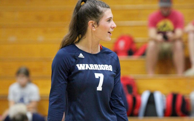 Shelby Spain and the Lady Warrior volleyball squad has a preseason scrimmage set for Wednesday, Aug. 6, against Lanier. (Photos/Mark Turner and Staci Sulhoff)