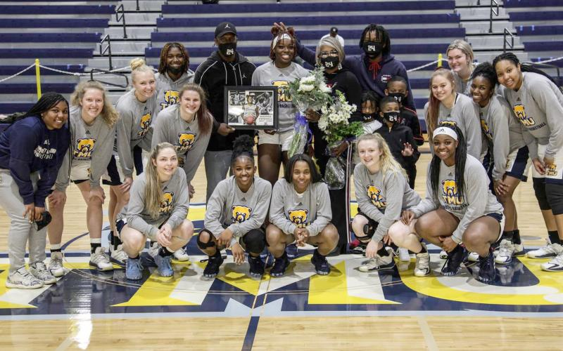 The TMU women's team recently honored Sierra Kendall, top row, middle, during Senior Day festivities. (Photo/TMU Athletics)