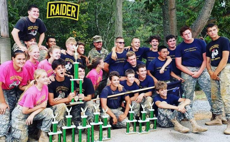 The White County High School JROTC Raider squad had another stellar effort at an event last weekeend at Grayson High School in Gwinnett County. Both the mixed team and male team brought home trophies. The male team finished third in CCR, PTT, and rope bridge, while the mixed team was first in the tire flip, PPT and CCR, and third in the team run and rope bridge. (Photo/WCHS)