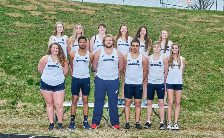The senior members of the White County High School track team are, front from left, Evelyn Vanderbunt, Will Sampson, Jacob Anderson, Cory Ezzard, Nix Burkett, and Rachel Lovell; back row, Amelia Beckett, Alyssa Bertie, Azalee Stancel, Ellie Gearing, Kylie Johnson, and Maggie Davidson. (Photo/Staci Sulhoff)