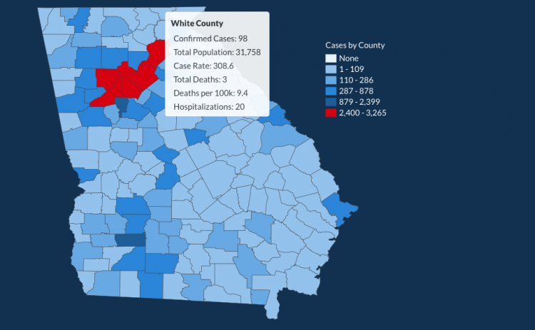 There have been 98 total confirmed COVID-19 cases in White County since the start of the pandemic, according to the 1 p.m. update on Thursday, May 28, on the Georgia Department of Public Health's website. (Image from Department of Public Health website)