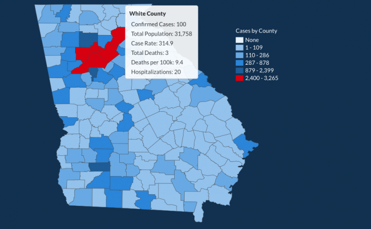 There have been 100 total confirmed COVID-19 cases in White County since the start of the pandemic, according to the 1 p.m. update on Friday, May 29, on the Georgia Department of Public Health's website. (Image from Department of Public Health)