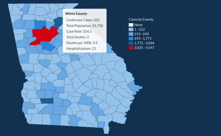 There have been 103 total confirmed COVID-19 cases in White County since the start of the pandemic, according to the 1 p.m. update on Monday, June 1, on the Georgia Department of Public Health's website. (Image from DPH website)
