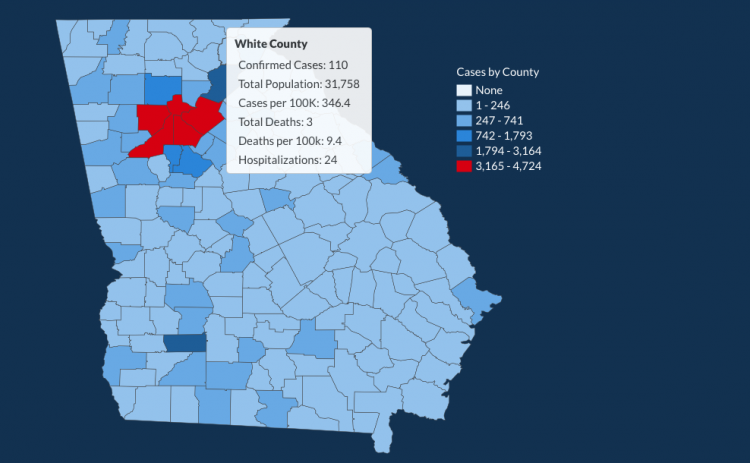 There have been 110 total confirmed COVID-19 cases in White County since the start of the pandemic, according to the 1 p.m. update on Monday, June 4, on the Georgia Department of Public Health's website.