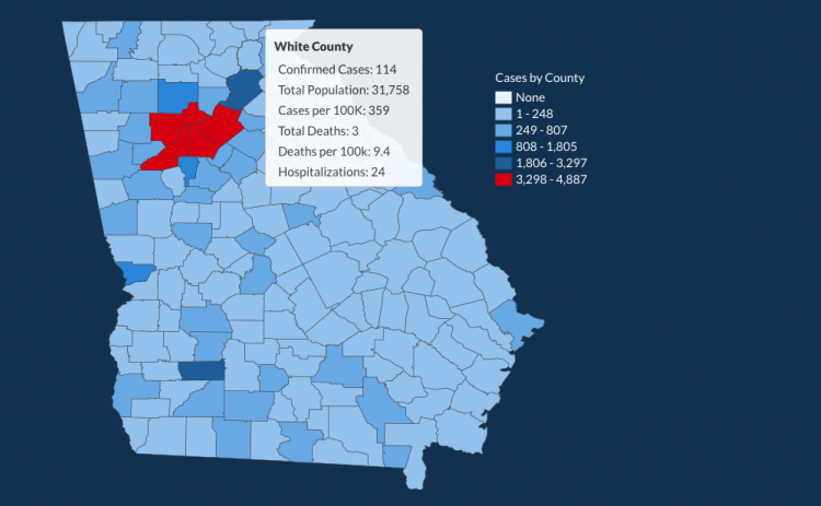 There have been 114 total confirmed COVID-19 cases in White County since the start of the pandemic, according to the 1 p.m. update on Monday, June 8, on the Georgia Department of Public Health's website.