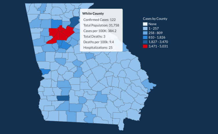 There have been 122 total confirmed COVID-19 cases in White County since the start of the pandemic, according to the update on Thursday, June 11, on the Georgia Department of Public Health's website.