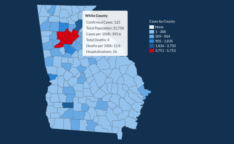 There have been 125 total confirmed COVID-19 cases in White County since the start of the pandemic, according to the update on Thursday, June 18, on the Georgia Department of Public Health's website. (Image from DPH website)