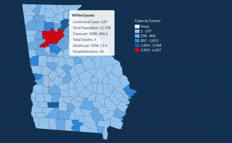 There have been 129 total confirmed COVID-19 cases in White County since the start of the pandemic, according to the update on Monday, June 22, on the Georgia Department of Public Health's website. (Image from DPH)