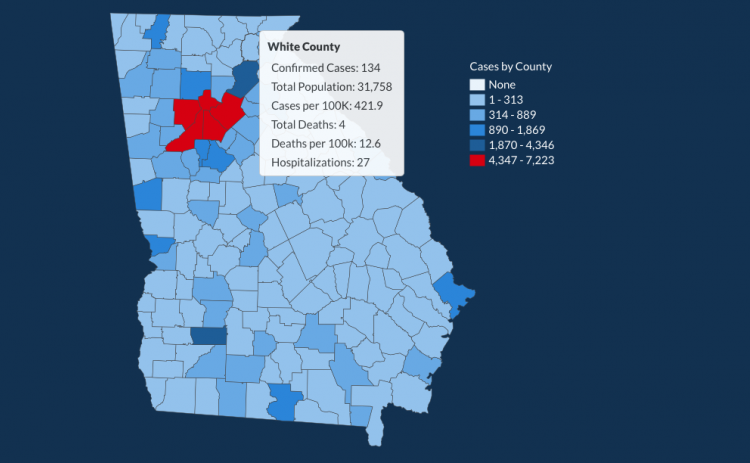 There have been 134 total confirmed COVID-19 cases in White County since the start of the pandemic, according to the update on Thursday, June 25, on the Georgia Department of Public Health's website.