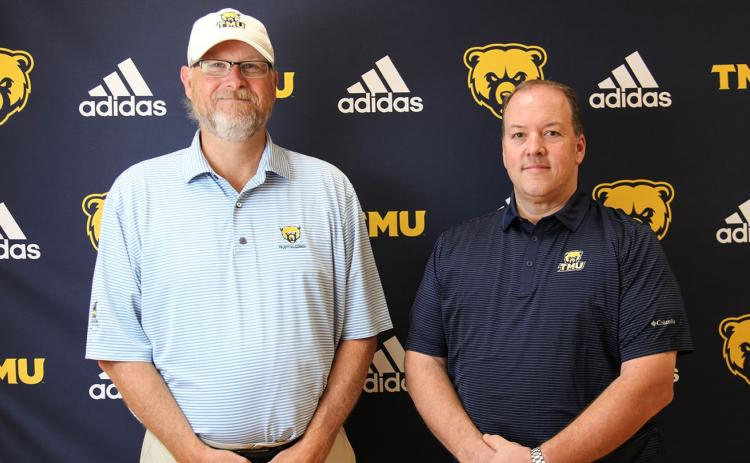 Jeff Branyon, right, is TMU's new cycling coach, while Steve Patton, left, will be the mountain bike recruiting coordinator. (Photos/TMU Athletics)