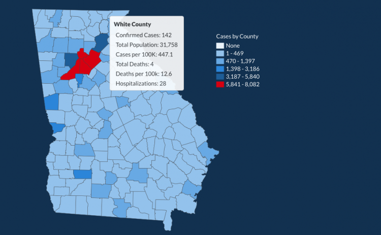 There have been 142 total confirmed COVID-19 cases in White County since the start of the pandemic, according to the update on Tuesday, June 30, on the Georgia Department of Public Health's website. (Image from DPH website)