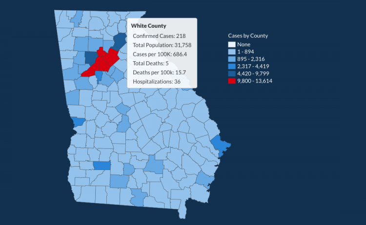 There have been 218 total confirmed COVID-19 cases in White County since the start of the pandemic, according to the update on Monday, July 18, on the Georgia Department of Public Health's website.