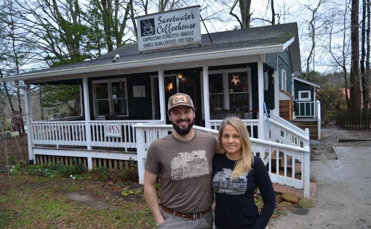 Ben and Betsy Dockins, shown outside Sweetwater Coffeehouse in February, became owners of the business in 2017 and have operated it during the shop's 25th anniversary in spring. (Photo/Wayne Hardy)