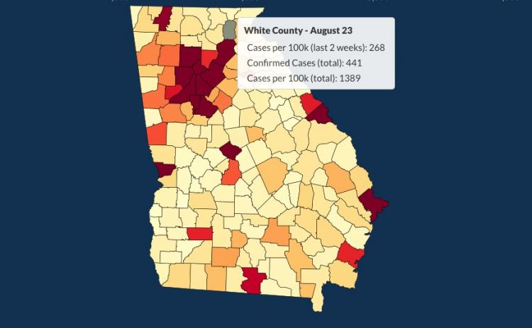 There have been 441 total confirmed COVID-19 cases in White County since the start of the pandemic, according to the update  on Sunday, Aug. 23, on the Georgia Department of Public Health's website.