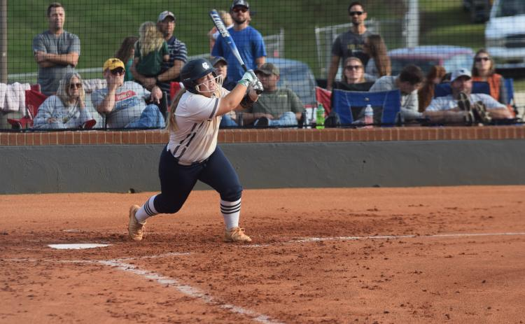 Cree Cantrell had a three-run home run in the Lady Warriors' win over Dawson County last week. (Photo/Mark Turner)