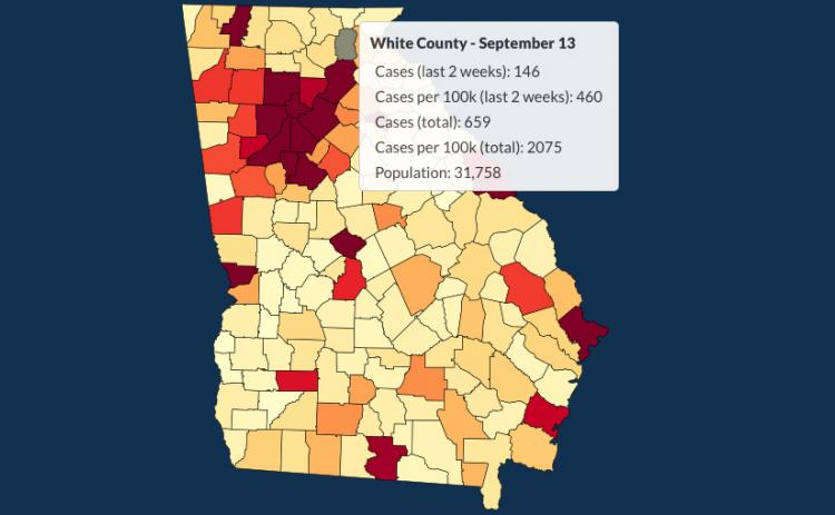 There have been 659 total confirmed COVID-19 cases in White County since the start of the pandemic, according to the update  on Sunday, Sept. 13, on the Georgia Department of Public Health's website.