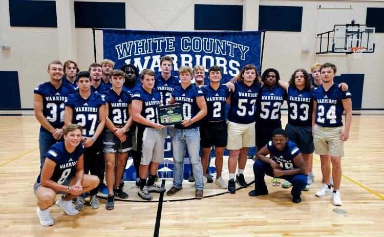The White County Warriors posted a historic win last Friday night, knocking Class AAA No. 8 Hart County 50-47 in Hartwell. The win was the football program's first road win over a ranked opponent since 1983, and only the 11th win over a ranked team in school history. (Photo/Mark Turner)