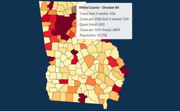 There have been 892 total confirmed COVID-19 cases in White County since the start of the pandemic, according to the update  on Sunday, Oct. 4, on the Georgia Department of Public Health's website.