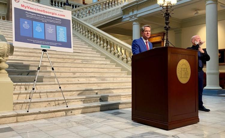 Gov. Brian Kemp unveiled plans to vaccinate Georgia school teachers in a speech at the state Capitol on Feb. 25, 2021. (Photo by Beau Evans)